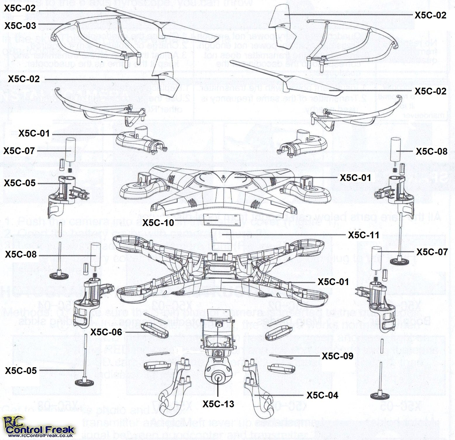 Syma X5c Spare Parts List Diagram