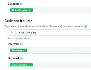 Marketer screenshare of setting up Twitter Ads audience features