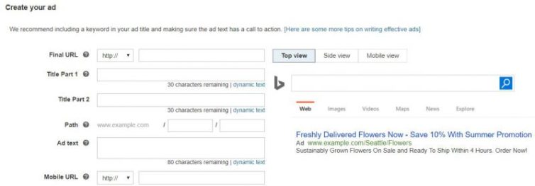 Marketer creating a text ad in Bing Ads