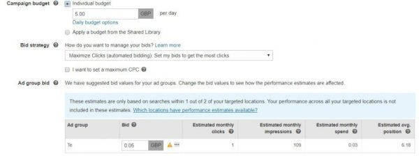 Marketer setting up budget and bids for a Bing Ads marketing campaign