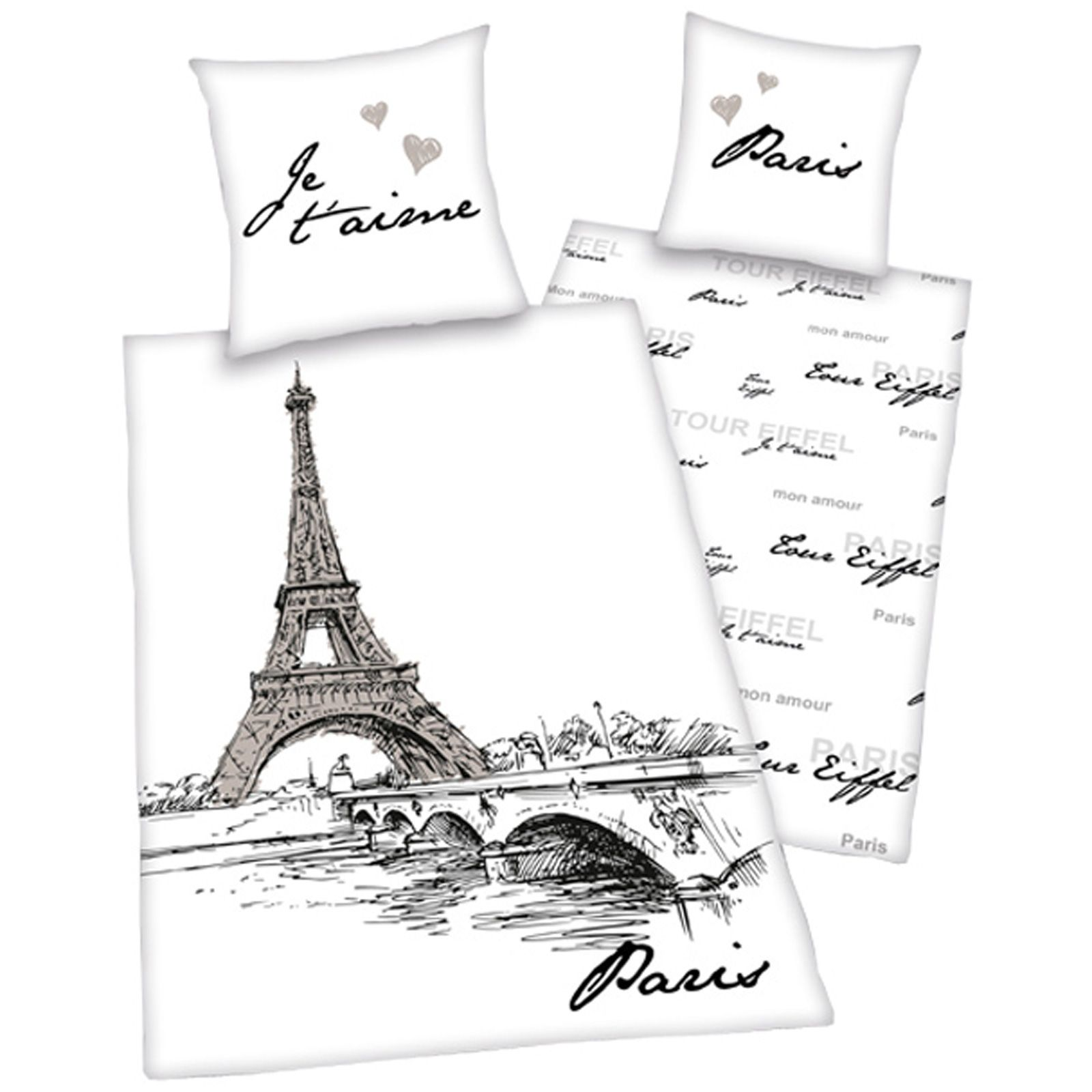 Paris French Duvet Cover Set Landmarks Eiffel Tower