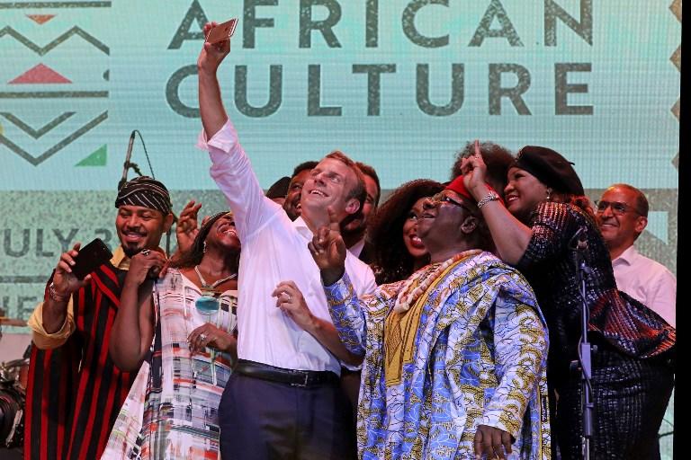 Image result for pictures from emmanuel macron's visit to afrikan shrine
