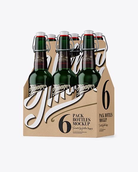 Kraft Paper 6 Pack Green Bottle Carrier Mockup - Half Side View Packaging Mockups