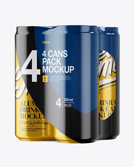 4 Metallic Cans in Shrink Wrap Mockup - Half Side View Packaging Mockups