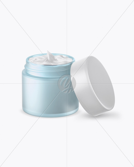 Download Opened Green Frosted Glass Cosmetic Jar In Wooden Shell Psd Mockup Yellowimages