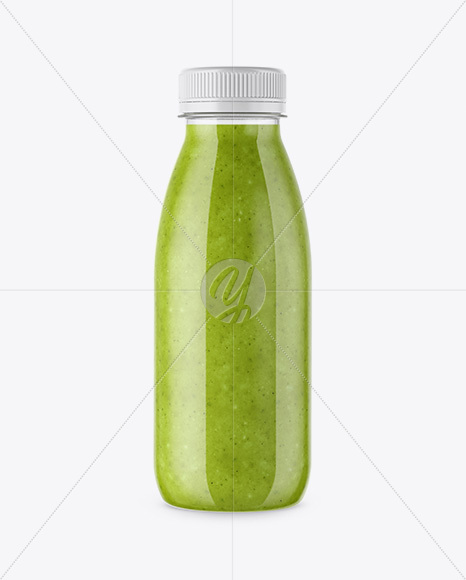 Download Green Glass Bottle With Smoothie Psd Mockup Yellow Images