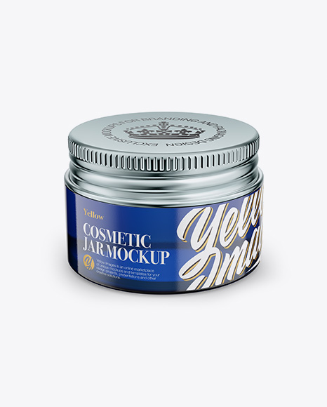 Blue Glass Cosmetic Jar - Front View (High Angle Shot) Packaging Mockups