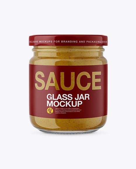 5a0c8df8c5a4a Glass Jar with Mustard Sauce Mockup - Front View templates