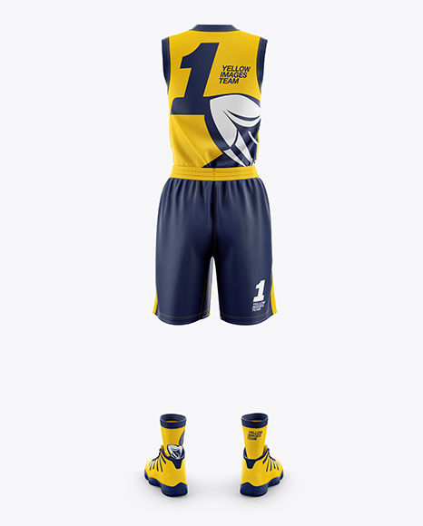 Download Basketball Kit W V Neck Mockup Front View Yellowimages