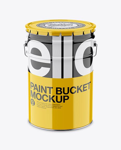 Glossy Paint Bucket Mockup - Front View (High-Angle Shot) Packaging Mockups