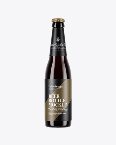 5a69b9a83f10c Dark Amber Glass Beer Bottle Mockup templates