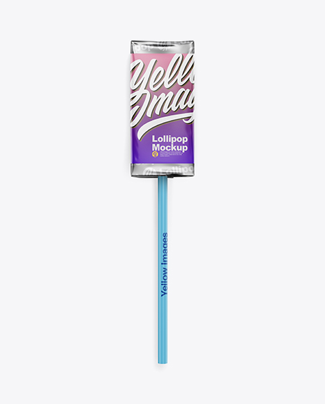 Lollipop in Foil Pack w/ Paper Label Mockup - Front View Packaging Mockups