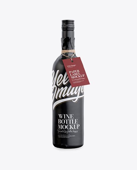 Wine Bottle in Glossy Paper Wrap W/ Label Mockup