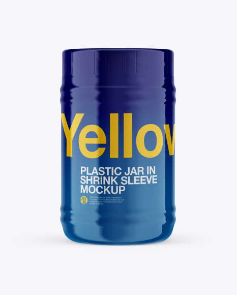 Plastic Jar in Shrink Sleeve Mockup - Front View