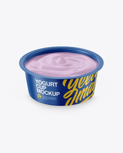 Opened Yogurt Cup Mockup - Front View (High-Angle Shot)