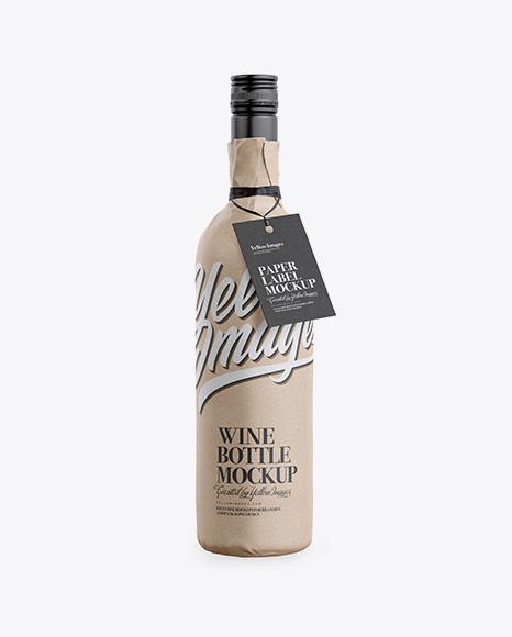 Wine Bottle in Kraft Paper Wrap W/ Label Mockup