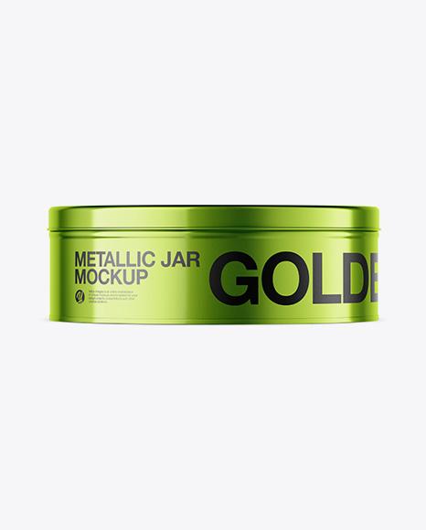 Metallic Round Tin Can Mockup