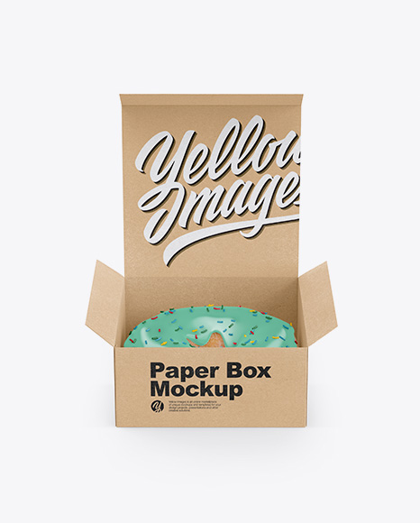 Opened Kraft Box With Donut Mockup - Front View (High-Angle Shot)