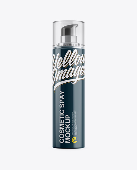 Glossy Cosmetic Bottle w/ Pump Mockup