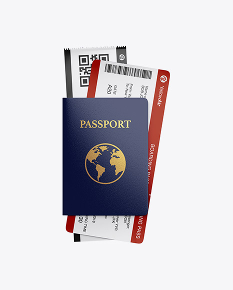Passport w/ Tickets Mockup