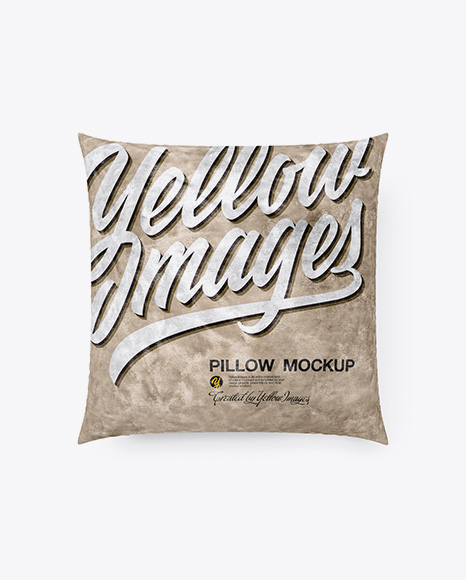 Square Velvet Pillow Mockup - Top View