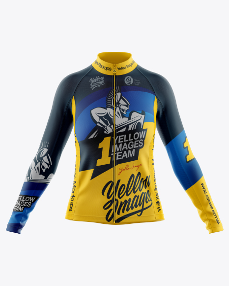 Women's Full-Zip Cycling Jersey With Long Sleeve Mockup - Front View