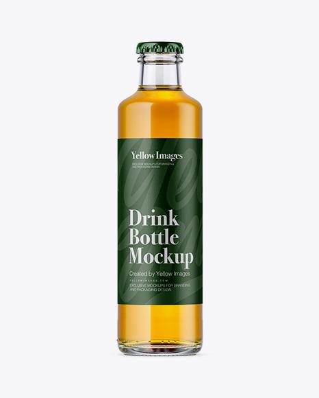 250ml Clear Glass Bottle w/ Beer Mockup