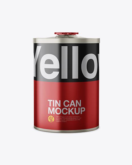 Metallic Tin Can Mockup - Front View