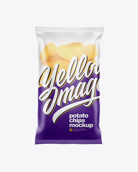 Matte Plastic Bag With Corrugated Potato Chips Mockup
