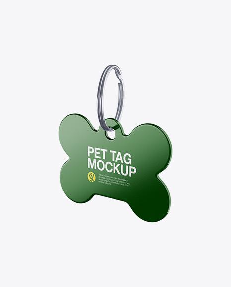 Glossy Pet Tag Mockup - Half Side View