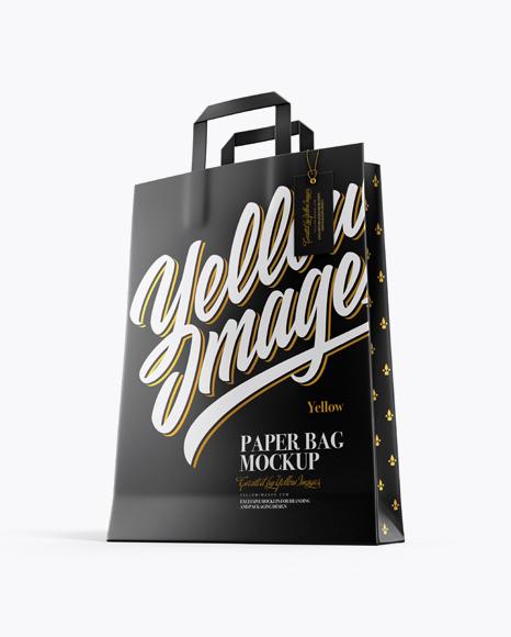 Paper Bag w/ Label Mockup - Half Side View