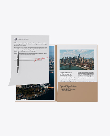 Kraft Folder with Papers and Pen Mockup