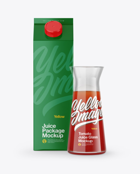 Carton Package With Tomato Juice Glass Mockup