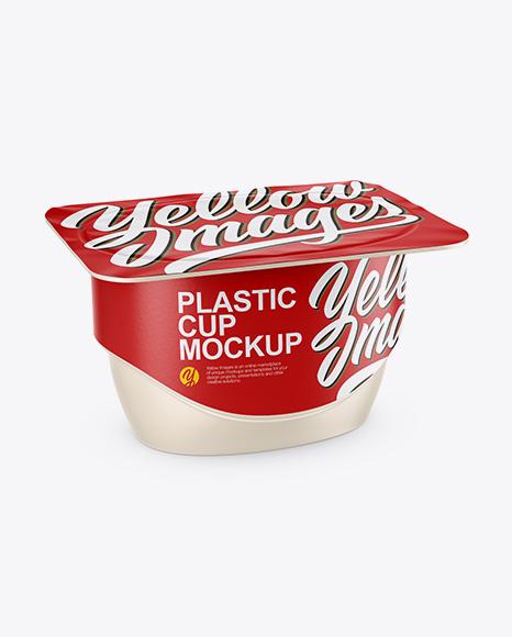 Matte Yogurt Cup Mockup - Half Side View (High-Angle Shot)