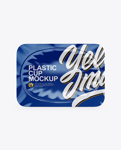 Glossy Yogurt Cup Mockup - Top View