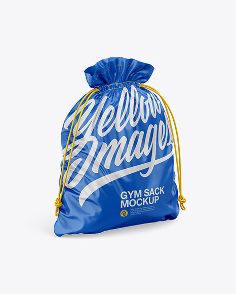 Glossy Gym Sack Mockup - Half Side View