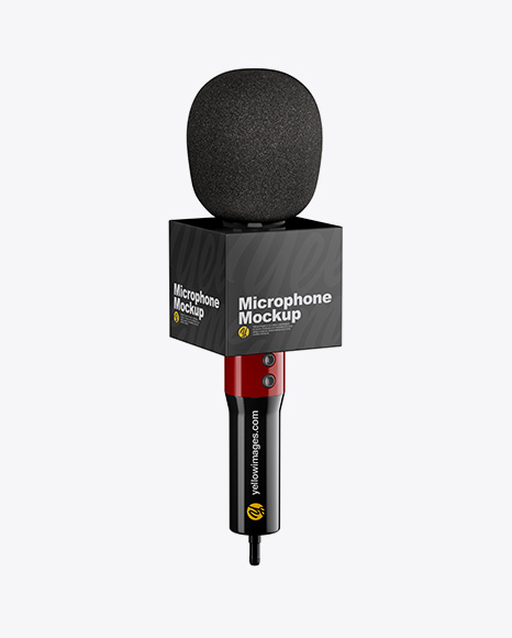 Glossy Microphone Mockup - Half Side View