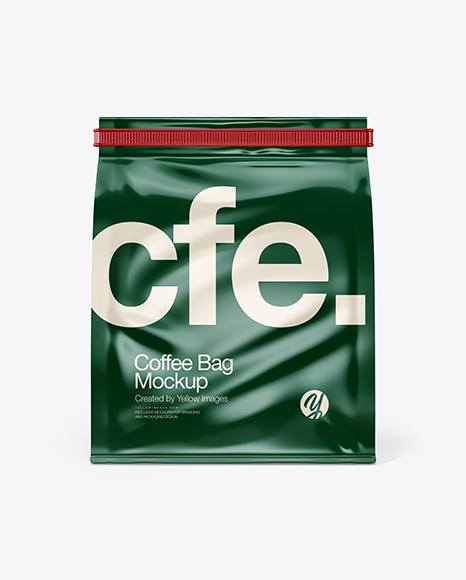 Glossy Coffee Bag With Tin-Tie Mockup