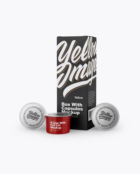 Box w/ Three Glossy K-Cups Mockup