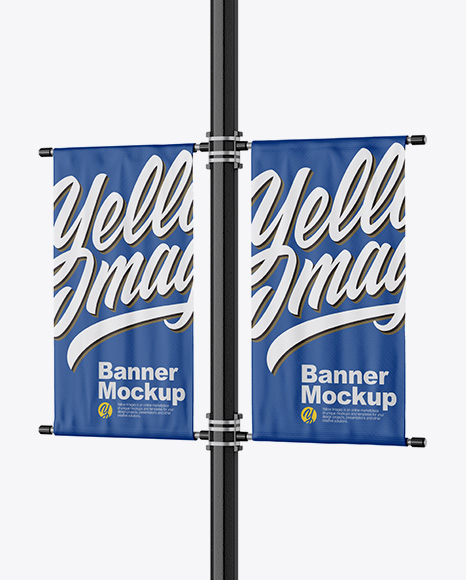 Two Matte Banners Mockup - Half Side View