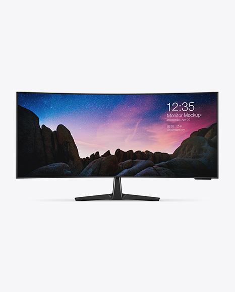 Glossy Ultrawide Monitor Mockup