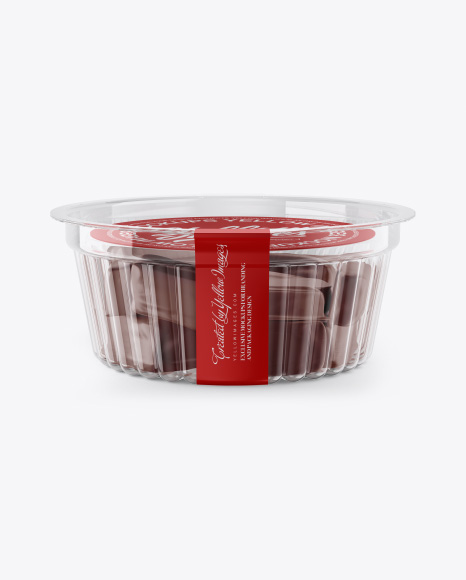 Transparent Container with Sweets Mockup - Front View