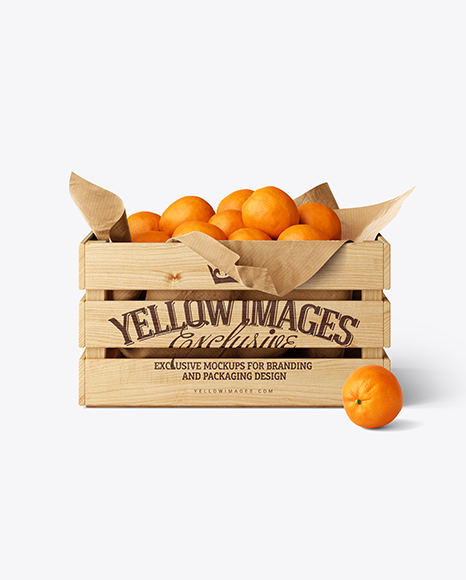 Wooden Crate With Oranges Mockup