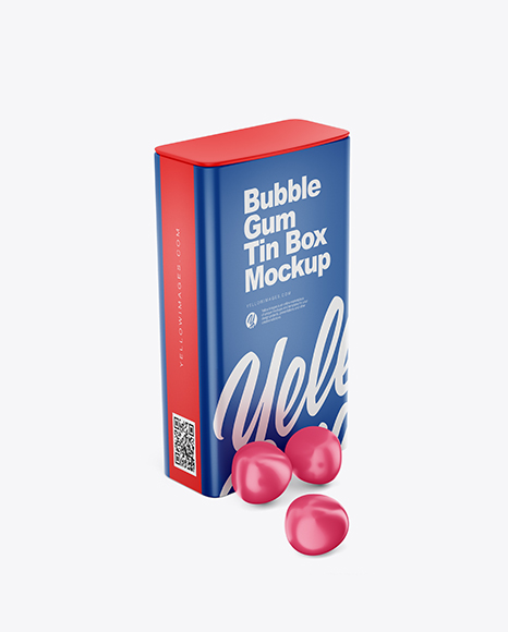 Matte Tin Box w/ Gum Mockup - Half SIde View (High Angle Shot)