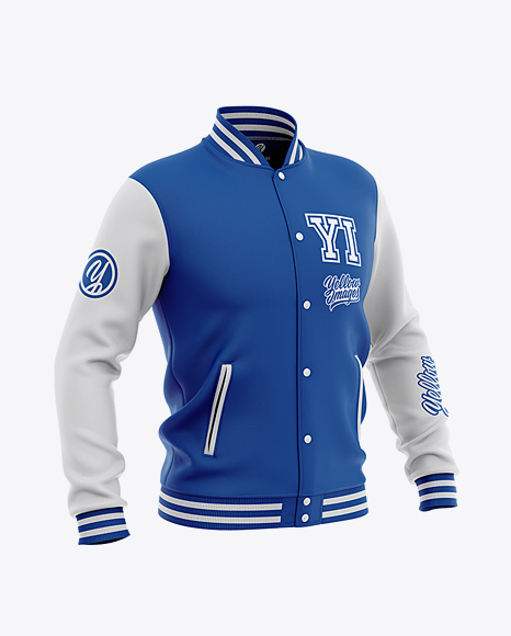 Men's Varsity Jacket Mockup - Front Half-Side View