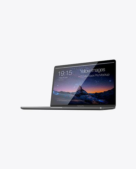 Macbook Pro Mockup - Half Side View (Hero Shot)