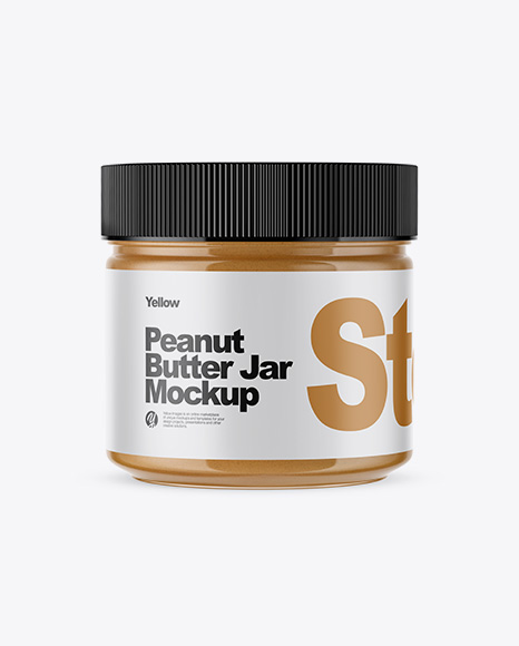 Clear Glass Peanut Butter Jar Mockup