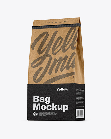 Kraft Coffee Bag With Tin-Tie Mockup - Half Side View