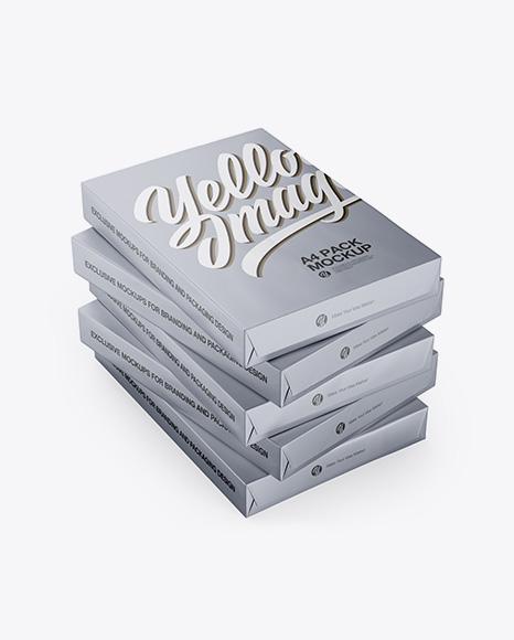 5 Matte Metallic A4 Size Paper Sheet Packs Mockup - Half Side View