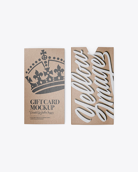 Kraft Gift Card w/ Card Holder Mockup